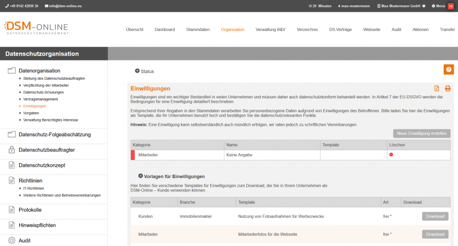 Datenschutzorganisation Einwilligungen